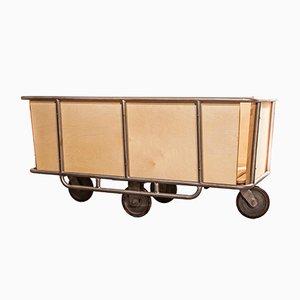 Chariot à Roulettes Industriel en Tissu, années 50