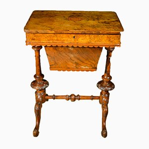 Antique Victorian Walnut Sewing Table, 1840s