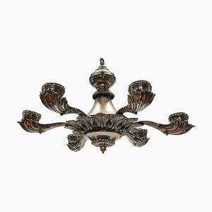 Lámpara de araña inglesa plateada antigua