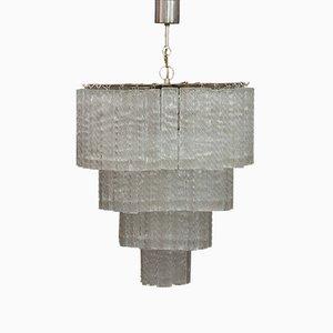 Lámpara de araña de tres pisos de cristal de Murano de Venini, años 60