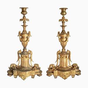 Große antike französische Empire Kerzenhalter, 2er Set