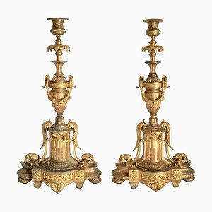 Large Antique Empire French Gilded Candleholders, Set of 2