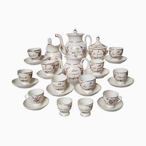 Servicio de té y café francés antiguo de porcelana