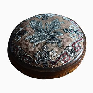 Antique Victorian Walnut and Beadwork Footstool with Marquetry Inlay