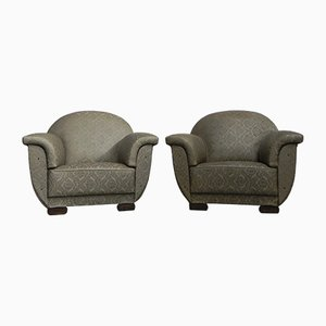 Large Art Deco Armchairs, 1930s, Set of 2