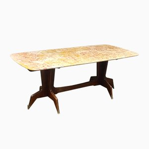 Vintage Italian Wood and Marble Dining Table, 1950s