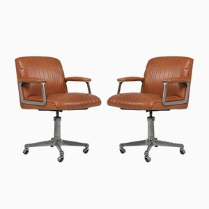 Cognac Leather Model P126 Swivel Chairs by Osvaldo Borsani for Tecno, 1980s, Set of 2
