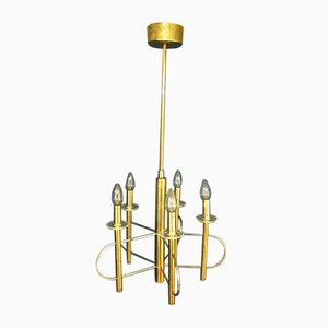 Brass, Chrome, and Glass Ceiling Lamp from Sciolari, 1970s