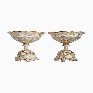 Cestas belgas estilo imperio antiguas de porcelana de J. B. Cappellemans. Juego de 2