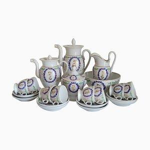 Servicio de café y té francés antiguo de porcelana, década de 1850