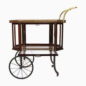 French Wood & Brass Fold Down Drinks Trolley, 1920s
