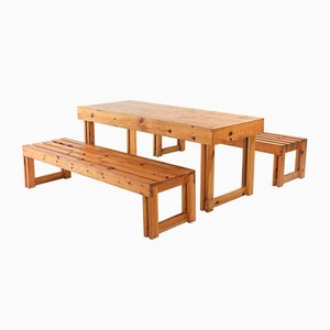 Italian Pinewood Dining Table & Benches Set, 1960s