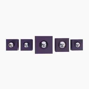 Violette Wandleuchten von Philips, 1970er, 5er Set