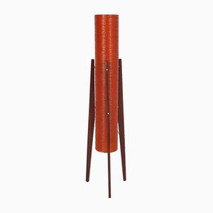Lámpara de pie Rocket de fibra de vidrio en rojo anaranjado, años 50