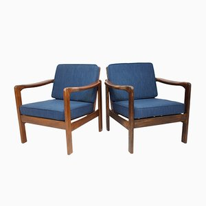 Mid-Century Beech and Blue Fabric Lounge Chairs, Set of 2