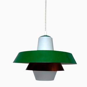 Mid-Century Opaline Glass and Copper Pendant Lamp, 1950s