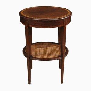 English Round Walnut, Mahogany, Beech, and Maple Side Table, 1950s
