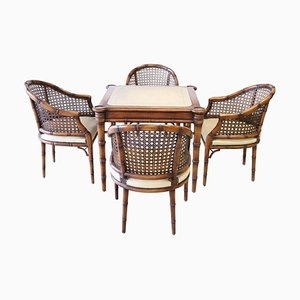 Art Deco Walnut and Straw Armchairs and Game Table Set, 1930s