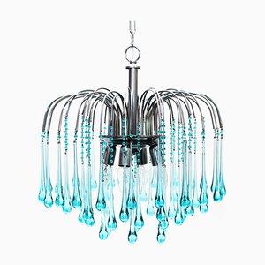 Lámpara de araña en cascada de cristal de Murano de Paolo Venini, años 60