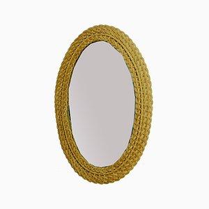 Large Mid-Century Oval Rattan Mirror, 1950s