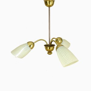 Opal and Brass Ceiling Lamp, 1950s