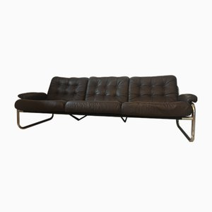 Mid-Century Swedish Chrome and Leather Sofa by Johann Bertil Häggström