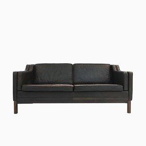 Sofá de dos plazas danés de teca y cuero marrón, años 60