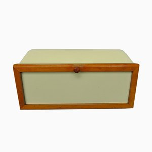 Mid-Century Beige Ceramic and Wood Bread Box from Wächtersbach