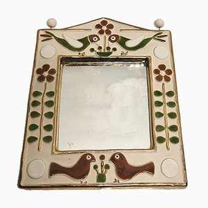 Ceramic-Framed Mirror by François Lembo, 1970s