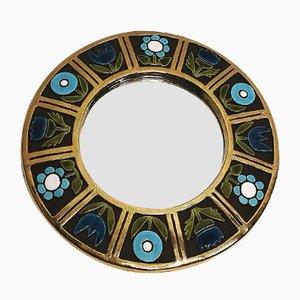 Runder Spiegel mit Keramikrahmen von François Lembo, 1970er