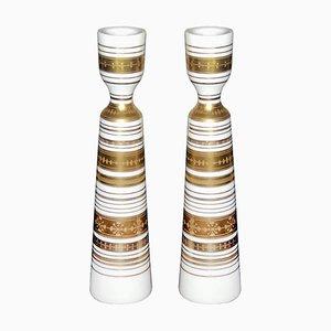 Bougeoirs en Porcelaine par Bjørn Wiinblad pour Rosenthal, années 70, Set de 2