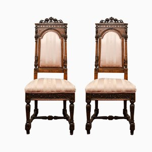 Antique Carved Walnut Dining Chairs from Sellerio Giuseppe, Set of 2