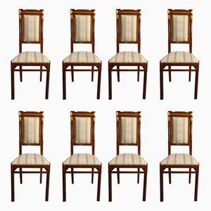 Antike italienische Esszimmerstühle im Jugendstil von Gianotti, 8er Set