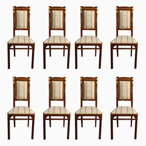 Antique Art Nouveau Italian Dining Chairs by Gianotti, Set of 8