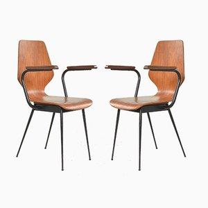 Italienische Beistellstühle aus Schichtholz von Carlo Ratti für Legni Curvati, 1950er, 2er Set