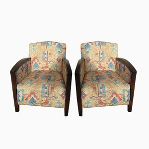 Art Deco Wood and Fabric Lounge Chairs, Set of 2