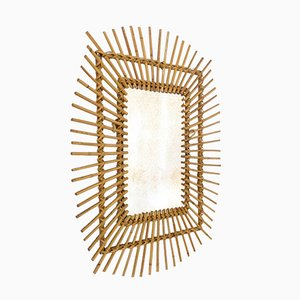 Rectangular Sun-Burst Rattan-Framed Mirror, 1960s