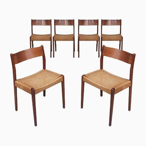 Mid-Century Danish Papercord and Teak Dining Chairs from Mogens Kold, 1960s, Set of 6
