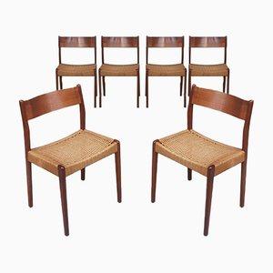 Sedie da pranzo Mid-Century in teak e corda di Mogens Kold, Danimarca, anni '60, set di 6