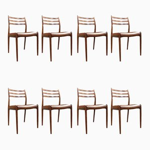 Rosewood and Leather Dining Chairs by Niels Otto Møller for J.L. Møllers, 1962, Set of 8