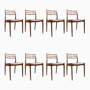 Sedie da pranzo in palissandro e pelle di Niels Otto Møller per J.L. Møllers, 1962, set di 8