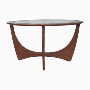 Round Danish Glass and Teak Coffee Table from G-Plan, 1960s