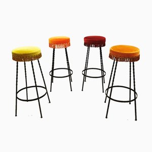 Vintage Velvet Bar Stools, 1960s, Set of 4