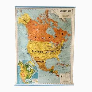Mappa scolastica del Nord America vintage di Seix Barral, 1969