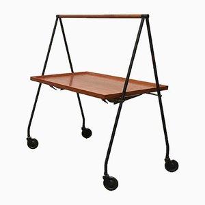 Mid-Century Teak Foldable Serving Cart