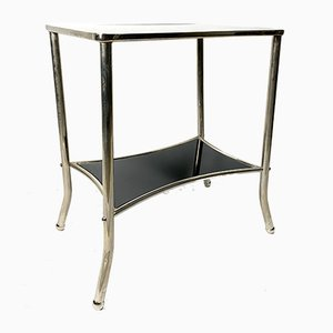 Nickel-Plated and Black Glass Console Table, 1930s