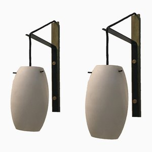 Italian Brass and Satin Glass Sconces, 1950s, Set of 2