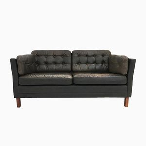 Mid-Century Danish Dark Brown Leather 2-Seater Sofa, 1960s