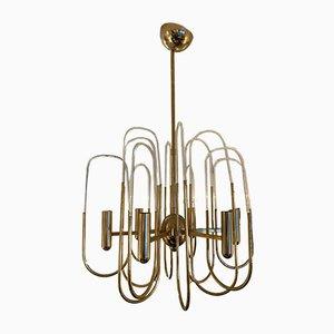 Lámpara de araña italiana de vidrio y latón de Gaetano Sciolari, años 70
