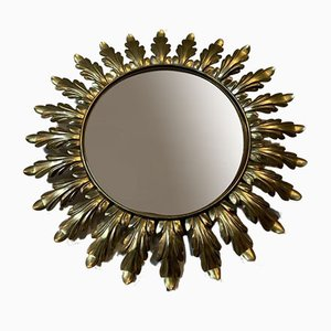Round Belgian Brass Leaf Wall Mirror from Deknudt, 1950s